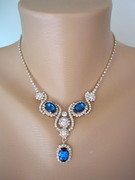 Sapphire Rhinestone Necklace and Earring Set
