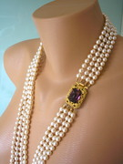 Long Purple Rhinestone and Pearl Necklace