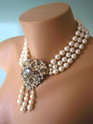 Large Smoky Rhinestone and Pearl Choker Necklace