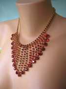 Ruby Red Rhinestone Waterfall Necklace