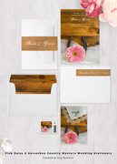 Pink Daisy and Horseshoe Country Western Wedding Stationery