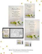 White Tulip Bouquet Spring Wedding Stationery Collection