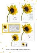 Yellow Sunflower on White Wedding Stationery