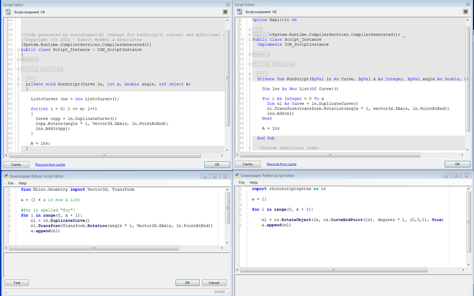 For loop in C#, VB.net and Python
