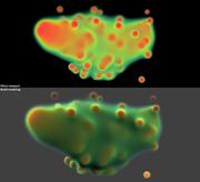 Metaball volume gradients