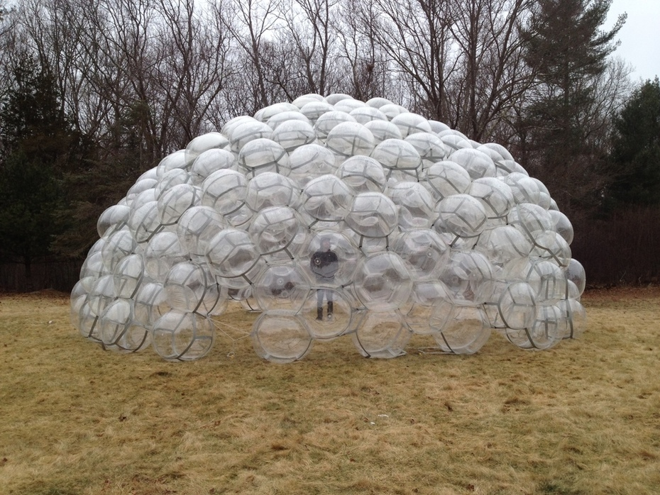 Inflated Ball Dome made from 250 clear spheres