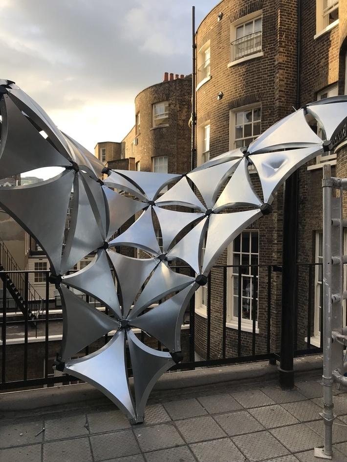 Metal curve-folding pavilion for 2018 AA Emtech Projects review London