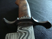 """Shell Pattern """"S"""" Guard on Damascus Bowie"""