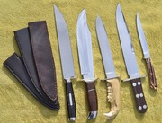 Crawford Bowies x4 with sheaths and Filet knife 1976-1980