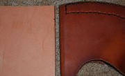 Before and after pic of leather, using olive oil to change color