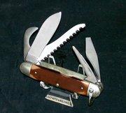 "Craftsman 9555 Camping Survival Knife 1960's ""SFO"" By Schrade Walden W/Original Craftsman Leather Sheath & Original Craftsman Packaging"