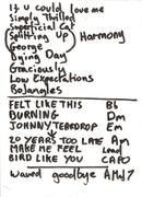 Set List solo gig circa 2002-3