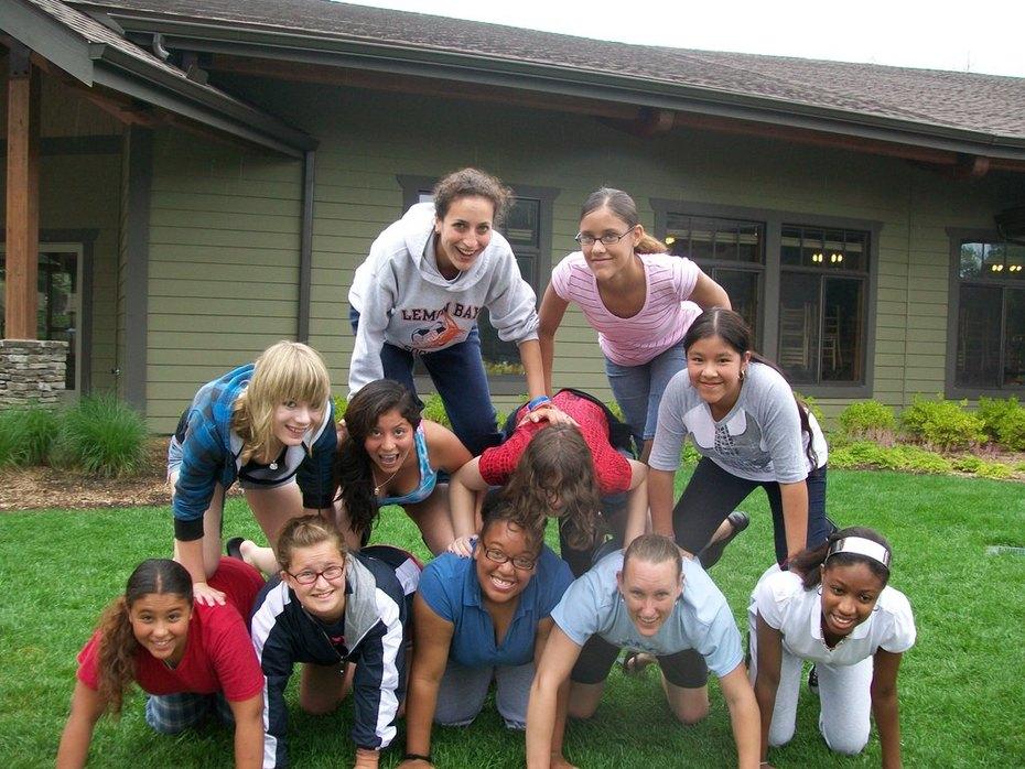 Young Life girls build a ginormous pyramid
