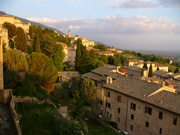 Assisi, Italy, in the golden light of sunset.