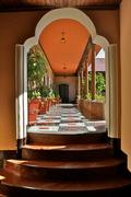 Staircase to garden at Hotel Modelo