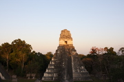 Sunset at central plaza in Tikal