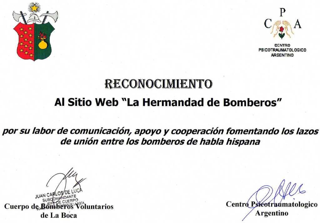 RECONOCIMIENTO DEL CUERPO DE BOMBEROS VOLUNTARIOS DE LA BOCA Y DEL CENTRO PSICOTRAUMATOLOGICO ARGENTINO A LA HERMANDAD DE BOMBEROS