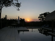 Sunset over swimming pool