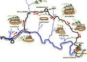 Map trek to Machupicchu