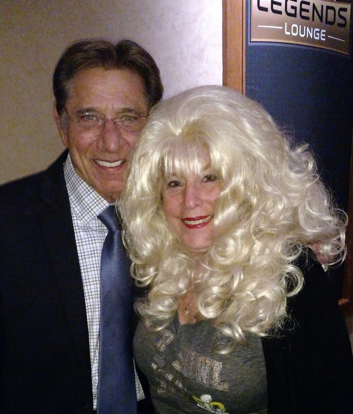 Ann travels the world-meeting celebrities like NFL's  Joe Namath at Super Bowl week events