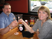 CELEBRATING WITH A JEREMIAH RED AND A BREWHOUSE BLONDE AT BJ'S BREWHOUSE MENTOR, OH. APRIL 2017