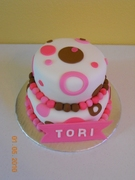 Brown & Pink fondant 2 tier cake made with 8 & 6 inch rounds