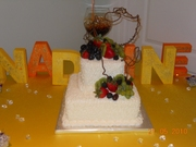 Two Tier Carrot Cake with fresh fruit
