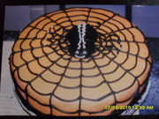 Big spider on web cake