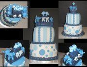 blue and white baby shower cakes