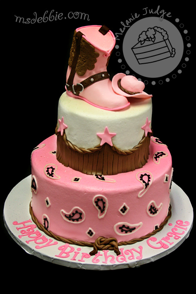 Pink Cowgirl Boot Birthday Cake