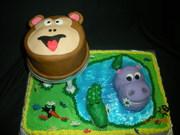 Monkey, hippo and alligator