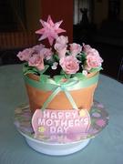 mother's day flower pot cake