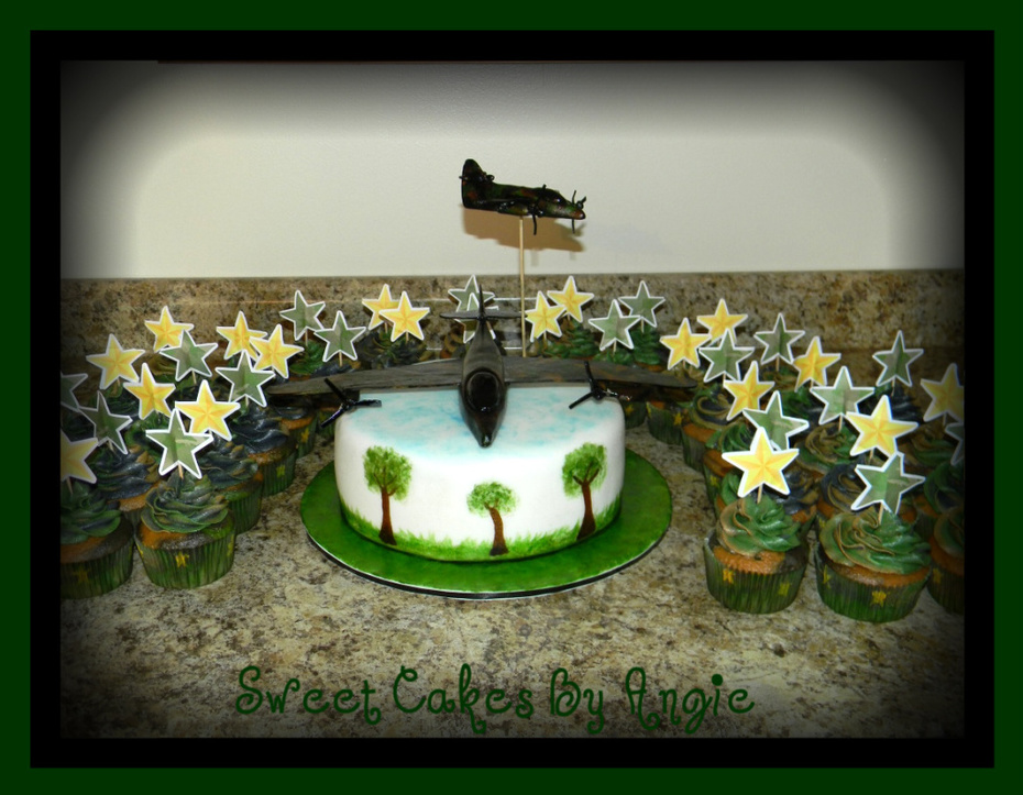 Swell Military Army Camo Plane Birthday Cake With Cupcakes Cake Personalised Birthday Cards Paralily Jamesorg