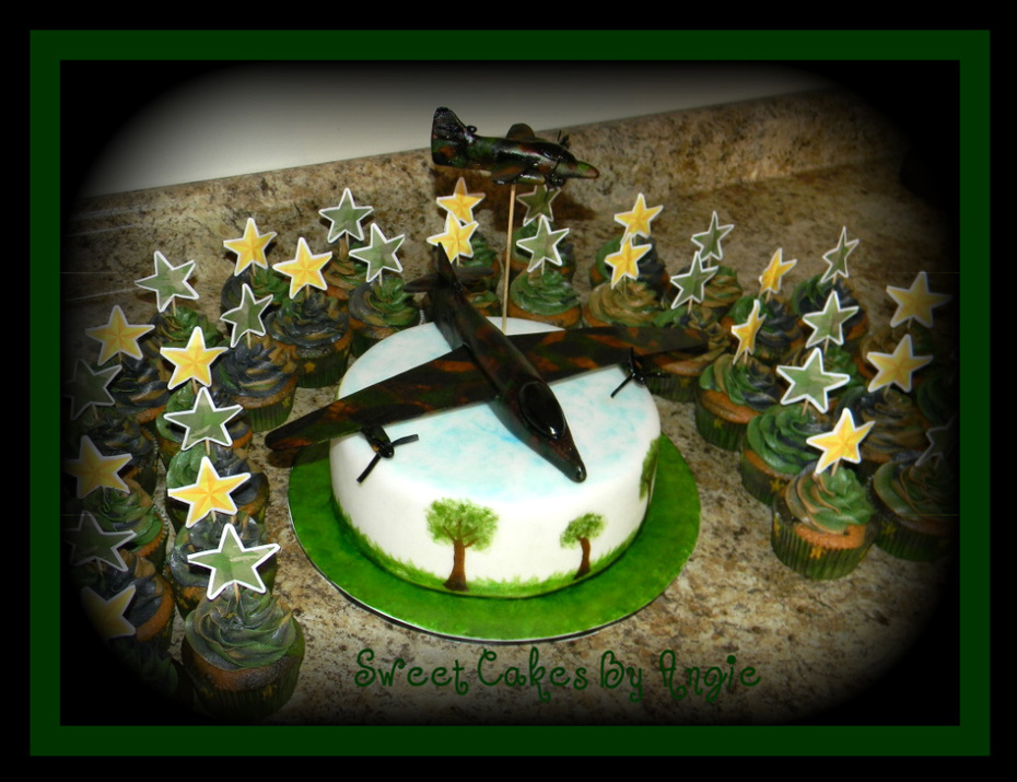 Admirable Military Army Camo Plane Birthday Cake With Cupcakes Cake Personalised Birthday Cards Paralily Jamesorg