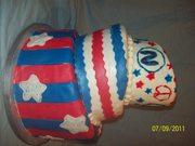red, white, and blue birthday cake