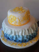 Blue ruffle, yellow brushed embroidery birthday