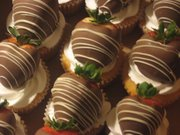 Chocolate covered strawberry topped cupcakes