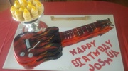 Guitar Cake with Guitar Pick Cupcakes