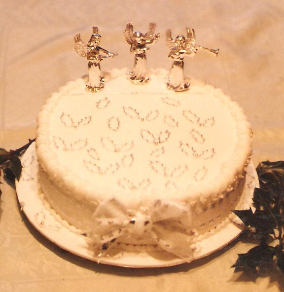 Silver and white christmas Cake