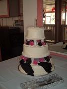 Fuschia and Black Wedding Cake