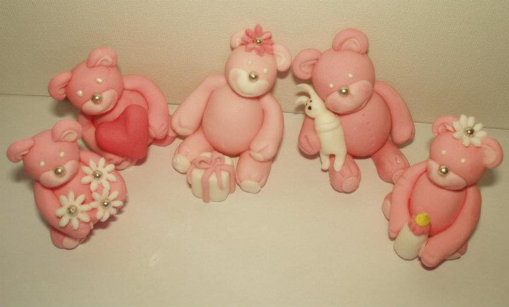 teddy bears christening cake topper