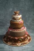 Henna and Peacocks Wedding Cake