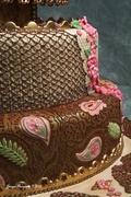 Henna and Peacocks Wedding Cake-close-up 2 of 4