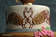 Henna and Peacocks Wedding Cake-close-up 3 of 4