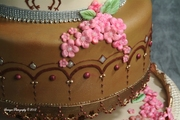 Henna and Peacocks Wedding Cake-close-up 1 of 4