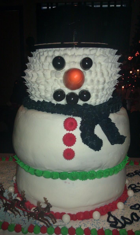 3D Snowman Christmas Birthday Cake!