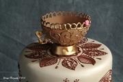 Henna and Peacocks Wedding Cake-close-up 4 of 4