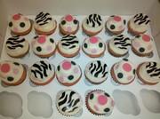 Polka Dot Zebra print cupcakes