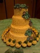 Wedding Cake and Mini Peacock cupcakes