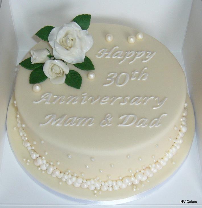 A pearl (30th) wedding anniversary cake.